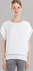Top Ecume - neckline: round neck; sleeve style: dolman/batwing; pattern: plain; predominant colour: white; occasions: casual; length: standard; style: top; fibres: viscose/rayon - 100%; fit: tailored/fitted; sleeve length: short sleeve; texture group: crepes; pattern type: fabric; embellishment: studs