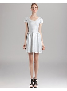 Dress Ruflux - length: mid thigh; pattern: plain; waist detail: twist front waist detail/nipped in at waist on one side/soft pleats/draping/ruching/gathering waist detail; predominant colour: silver; occasions: evening, holiday; fit: fitted at waist & bust; style: fit & flare; neckline: scoop; hip detail: soft pleats at hip/draping at hip/flared at hip; sleeve length: short sleeve; sleeve style: standard; trends: metallics; pattern type: fabric; texture group: jersey - stretchy/drapey; fibres: nylon - stretch