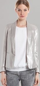 Jacket Virginale - pattern: plain; style: single breasted tuxedo; collar: shawl/waterfall; fit: slim fit; predominant colour: silver; occasions: casual, evening, occasion; length: standard; fibres: polyester/polyamide - 100%; sleeve length: long sleeve; sleeve style: standard; trends: tuxedo, metallics; collar break: low/open; pattern type: fabric; texture group: woven light midweight