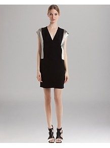 Dress Romance - style: shift; length: mid thigh; neckline: low v-neck; sleeve style: capped; pattern: plain; secondary colour: silver; predominant colour: black; occasions: evening, occasion; fit: straight cut; sleeve length: sleeveless; texture group: silky - light; pattern type: fabric; fibres: viscose/rayon - mix