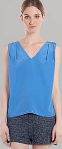 Top Entrelacer - neckline: v-neck; pattern: plain; sleeve style: sleeveless; style: blouse; predominant colour: diva blue; occasions: casual, evening, work, holiday; length: standard; fibres: silk - 100%; fit: loose; shoulder detail: flat/draping pleats/ruching/gathering at shoulder; back detail: crossover; sleeve length: sleeveless; texture group: silky - light; pattern type: fabric