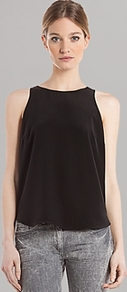 Top Etoile - pattern: plain; sleeve style: sleeveless; back detail: contrast pattern/fabric at back; predominant colour: black; occasions: casual, evening; length: standard; style: top; fibres: viscose/rayon - 100%; fit: body skimming; neckline: crew; sleeve length: sleeveless; texture group: silky - light; pattern type: fabric