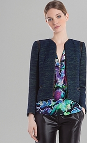 Jacket Valentin - style: single breasted blazer; collar: round collar/collarless; pattern: herringbone/tweed; predominant colour: navy; occasions: casual, evening, work, occasion; length: standard; fit: tailored/fitted; fibres: cotton - mix; sleeve length: long sleeve; sleeve style: standard; collar break: low/open; pattern type: fabric; pattern size: standard; texture group: tweed - light/midweight