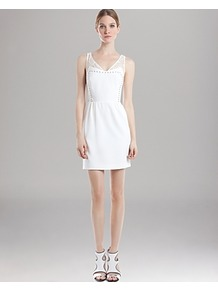 Dress Rania - style: shift; length: mid thigh; neckline: low v-neck; pattern: plain; sleeve style: sleeveless; bust detail: added detail/embellishment at bust; waist detail: fitted waist; back detail: low cut/open back; predominant colour: white; occasions: evening, occasion, holiday; fit: fitted at waist &amp; bust; fibres: polyester/polyamide - stretch; sleeve length: sleeveless; pattern type: fabric; texture group: jersey - stretchy/drapey; embellishment: studs