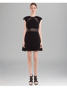 Lace Inset Dress Requiem - length: mid thigh; sleeve style: capped; pattern: plain; waist detail: embellishment at waist/feature waistband; predominant colour: black; occasions: evening; fit: fitted at waist & bust; style: fit & flare; fibres: polyester/polyamide - 100%; neckline: crew; hip detail: structured pleats at hip; bust detail: contrast pattern/fabric/detail at bust; sleeve length: sleeveless; texture group: crepes; pattern type: fabric; embellishment: lace
