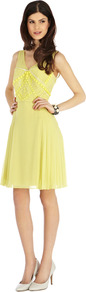 La Mamounia Dress - neckline: low v-neck; pattern: plain; sleeve style: sleeveless; bust detail: added detail/embellishment at bust; back detail: low cut/open back; predominant colour: primrose yellow; occasions: evening, occasion; length: just above the knee; fit: fitted at waist & bust; style: fit & flare; fibres: polyester/polyamide - 100%; hip detail: soft pleats at hip/draping at hip/flared at hip; sleeve length: sleeveless; texture group: sheer fabrics/chiffon/organza etc.; pattern type: fabric; embellishment: beading