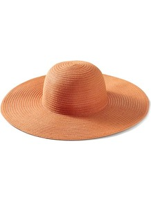 Nina Sunhat - predominant colour: coral; occasions: casual, holiday; type of pattern: standard; style: sunhat; size: large; material: fabric; pattern: plain