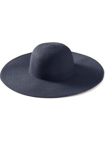 Nina Sunhat - predominant colour: navy; occasions: casual, holiday; type of pattern: standard; style: wide brimmed; size: large; material: macrame/raffia/straw; pattern: plain
