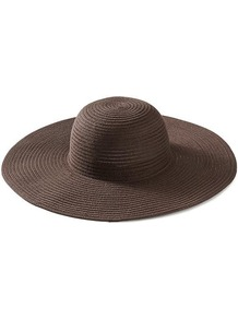 Nina Sunhat - predominant colour: chocolate brown; occasions: casual, holiday; type of pattern: standard; style: wide brimmed; size: large; material: macrame/raffia/straw; pattern: plain
