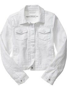 White Denim Jacket - pattern: plain; style: denim; fit: slim fit; predominant colour: white; occasions: casual; length: standard; fibres: cotton - stretch; collar: shirt collar/peter pan/zip with opening; sleeve length: long sleeve; sleeve style: standard; texture group: denim; collar break: high; pattern type: fabric