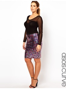Curve Pencil Skirt In Multi Sequin - style: pencil; fit: body skimming; waist detail: elasticated waist; hip detail: fitted at hip; waist: mid/regular rise; secondary colour: hot pink; occasions: evening, occasion; length: just above the knee; fibres: polyester/polyamide - stretch; predominant colour: multicoloured; trends: metallics; pattern type: fabric; pattern size: small & busy; pattern: patterned/print; texture group: other - light to midweight; embellishment: sequins