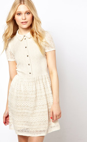 Lace Placket Dress - length: mid thigh; neckline: shirt collar/peter pan/zip with opening; bust detail: buttons at bust (in middle at breastbone)/zip detail at bust; predominant colour: ivory; occasions: casual; fit: fitted at waist & bust; style: fit & flare; fibres: cotton - mix; sleeve length: short sleeve; sleeve style: standard; texture group: lace; pattern type: fabric