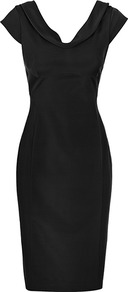 Bridge Fitted V Neck Dress - style: shift; neckline: cowl/draped neck; sleeve style: capped; fit: tailored/fitted; pattern: plain; waist detail: fitted waist; back detail: low cut/open back; predominant colour: black; occasions: evening, work, occasion; length: on the knee; fibres: viscose/rayon - stretch; sleeve length: short sleeve; trends: glamorous day shifts; pattern type: fabric; texture group: jersey - stretchy/drapey