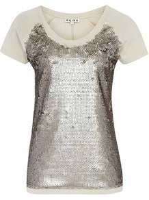 Dallas Sequin Front Jersey - neckline: round neck; bust detail: added detail/embellishment at bust; style: t-shirt; shoulder detail: contrast pattern/fabric at shoulder; predominant colour: taupe; secondary colour: stone; occasions: evening, holiday; length: standard; fibres: cotton - mix; fit: body skimming; sleeve length: short sleeve; sleeve style: standard; pattern type: fabric; pattern: colourblock; texture group: jersey - stretchy/drapey; embellishment: sequins