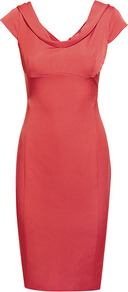 Bridge Fitted V Neck Dress - style: shift; neckline: cowl/draped neck; sleeve style: capped; fit: tailored/fitted; pattern: plain; predominant colour: coral; occasions: evening; length: just above the knee; fibres: viscose/rayon - stretch; sleeve length: sleeveless; texture group: structured shiny - satin/tafetta/silk etc.; pattern type: fabric