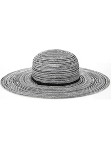 Wide Brim Spiral Hat - secondary colour: white; predominant colour: black; occasions: casual, occasion, holiday; type of pattern: standard; style: wide brimmed; size: large; material: macrame/raffia/straw; pattern: patterned/print