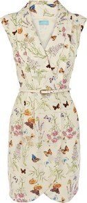Butterfly Wrap Dress, Natural - style: faux wrap/wrap; length: mid thigh; neckline: low v-neck; sleeve style: sleeveless; waist detail: belted waist/tie at waist/drawstring; predominant colour: stone; occasions: casual, evening, work; fit: body skimming; fibres: polyester/polyamide - 100%; sleeve length: sleeveless; pattern type: fabric; pattern size: standard; pattern: patterned/print; texture group: other - light to midweight