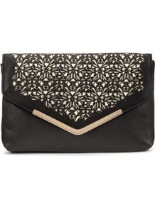 Black Laser Cut Envelop Clutch - secondary colour: ivory; predominant colour: black; occasions: evening, occasion; type of pattern: standard; style: clutch; length: hand carry; size: small; material: leather; pattern: plain; finish: plain