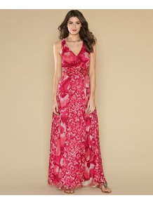 Tanzie Print Maxi Dress - neckline: low v-neck; fit: fitted at waist; sleeve style: sleeveless; style: maxi dress; predominant colour: true red; occasions: casual, occasion, holiday; length: floor length; fibres: silk - mix; sleeve length: sleeveless; texture group: sheer fabrics/chiffon/organza etc.; trends: statement prints; pattern type: fabric; pattern size: big &amp; light; pattern: patterned/print