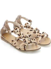 Rio Sandal - secondary colour: tan; predominant colour: nude; occasions: casual, holiday; material: animal skin; heel height: flat; ankle detail: ankle strap; heel: standard; toe: open toe/peeptoe; style: strappy; finish: plain; pattern: animal print