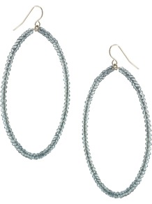 Agra Earring - predominant colour: pale blue; occasions: evening, occasion; style: hoop; length: long; size: large/oversized; material: chain/metal; fastening: pierced; finish: plain; embellishment: beading