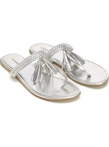 Acapulco Sandal - predominant colour: silver; occasions: casual, evening, holiday; material: leather; heel height: flat; embellishment: tassels; heel: standard; toe: toe thongs; style: flip flops / toe post; trends: metallics; finish: metallic; pattern: plain