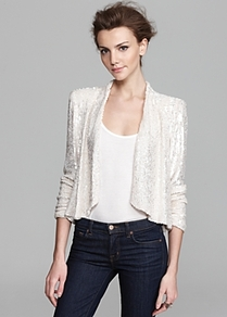 Jacket Wheeler Sequin Drape - style: single breasted blazer; collar: shawl/waterfall; length: cropped; fit: slim fit; predominant colour: ivory; secondary colour: ivory; occasions: evening, occasion; fibres: silk - mix; sleeve length: 3/4 length; sleeve style: standard; texture group: lace; collar break: low/open; pattern type: fabric; embellishment: sequins