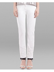 Jeans Ptillant In White - style: straight leg; length: standard; pattern: plain; pocket detail: traditional 5 pocket; waist: mid/regular rise; predominant colour: white; occasions: casual, evening, holiday; fibres: cotton - stretch; texture group: denim; pattern type: fabric; embellishment: studs