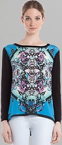 Shirt Solstice Printed - neckline: slash/boat neckline; length: below the bottom; secondary colour: black; occasions: casual; style: top; fibres: cotton - 100%; fit: body skimming; predominant colour: multicoloured; sleeve length: long sleeve; sleeve style: standard; trends: statement prints; pattern type: fabric; pattern size: standard; pattern: patterned/print; texture group: jersey - stretchy/drapey