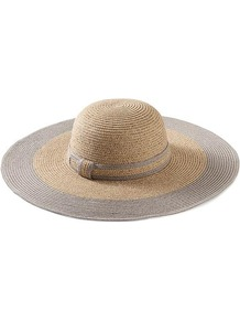 Colorblock Sun Hat - predominant colour: camel; secondary colour: taupe; occasions: casual, holiday; type of pattern: standard; style: sunhat; size: large; material: macrame/raffia/straw; pattern: colourblock