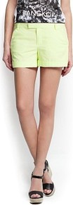 Cotton Chino Shorts - pattern: plain; style: shorts; length: short shorts; waist: mid/regular rise; predominant colour: lime; occasions: casual, holiday; fibres: cotton - stretch; texture group: cotton feel fabrics; fit: straight leg; pattern type: fabric