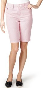Per Una Cotton Rich Striped Shorts - style: shorts; pattern: pinstripe; pocket detail: traditional 5 pocket; waist: mid/regular rise; secondary colour: white; predominant colour: coral; occasions: casual; fibres: cotton - stretch; texture group: cotton feel fabrics; fit: slim leg; pattern type: fabric; length: just above the knee