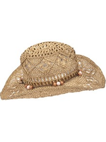 Metallic Straw Cowboy Hat - predominant colour: camel; occasions: casual, holiday; type of pattern: standard; style: cowboy; size: standard; material: macrame/raffia/straw; embellishment: beading; pattern: plain
