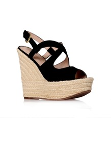 Katy - secondary colour: ivory; predominant colour: black; occasions: casual, holiday; material: fabric; ankle detail: ankle strap; heel: wedge; toe: open toe/peeptoe; style: strappy; finish: plain; pattern: plain; heel height: very high