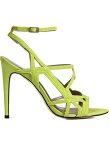 Grazia Geometric High Sandals - predominant colour: lime; occasions: evening, work, occasion, holiday; material: leather; heel height: high; ankle detail: ankle strap; heel: stiletto; toe: open toe/peeptoe; style: strappy; trends: fluorescent; finish: plain; pattern: plain