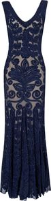 Women's Paloma Full Length Dress, Navy - neckline: low v-neck; fit: tailored/fitted; pattern: plain; sleeve style: sleeveless; style: maxi dress; back detail: low cut/open back; predominant colour: navy; secondary colour: stone; occasions: evening, occasion; length: floor length; fibres: nylon - 100%; hip detail: soft pleats at hip/draping at hip/flared at hip; sleeve length: sleeveless; texture group: lace; pattern type: fabric; embellishment: embroidered