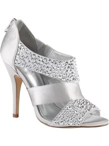 Johanek Sandals, Silver - predominant colour: silver; occasions: evening, occasion; material: faux leather; heel height: high; embellishment: crystals; heel: stiletto; toe: open toe/peeptoe; style: standard; trends: metallics; finish: metallic; pattern: plain