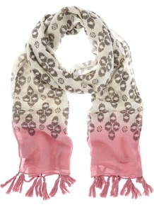 Tilly Print Scarf, Multi Coloured - predominant colour: stone; occasions: casual, work; type of pattern: standard; style: regular; size: standard; material: fabric; embellishment: tassels; pattern: patterned/print; secondary colour: dusky pink