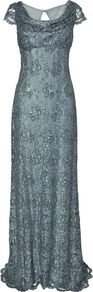 Women's Pippa Embellished Full Length Dress, Smoke - style: ballgown; neckline: cowl/draped neck; pattern: plain; waist detail: fitted waist; bust detail: ruching/gathering/draping/layers/pintuck pleats at bust; predominant colour: pale blue; occasions: evening, occasion; length: floor length; fit: body skimming; fibres: nylon - mix; sleeve length: short sleeve; sleeve style: standard; texture group: lace; pattern type: fabric; embellishment: sequins