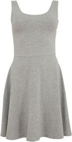 Grey Sleeveless Skater Dress - length: mid thigh; neckline: round neck; pattern: plain; sleeve style: sleeveless; waist detail: fitted waist; predominant colour: mid grey; occasions: casual; fit: fitted at waist & bust; style: fit & flare; fibres: cotton - stretch; sleeve length: sleeveless