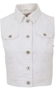 White Sleeveless Denim Jacket - pattern: plain; sleeve style: sleeveless; length: cropped; style: denim; fit: slim fit; predominant colour: white; occasions: casual, holiday; fibres: cotton - 100%; collar: shirt collar/peter pan/zip with opening; sleeve length: sleeveless; texture group: denim; collar break: high/illusion of break when open; pattern type: fabric
