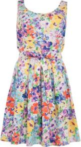 Blue Floral Sleeveless Skater Dress - length: mid thigh; sleeve style: sleeveless; waist detail: fitted waist; back detail: low cut/open back; occasions: casual, evening; fit: fitted at waist & bust; style: fit & flare; neckline: scoop; fibres: cotton - stretch; hip detail: soft pleats at hip/draping at hip/flared at hip; predominant colour: multicoloured; sleeve length: sleeveless; trends: high impact florals; pattern type: fabric; pattern size: big & busy; pattern: florals; texture group: jersey - stretchy/drapey