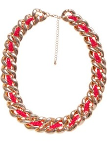 Gold And Pink Neon Thread Chunky Chain Necklace - secondary colour: hot pink; predominant colour: gold; occasions: casual, evening, holiday; style: standard; length: mid; size: large/oversized; material: chain/metal; trends: fluorescent, metallics; finish: plain; embellishment: chain/metal