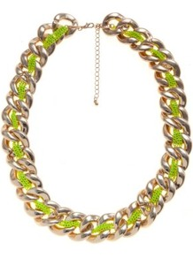 Gold And Yellow Neon Thread Chunky Chain Necklace - predominant colour: lime; secondary colour: gold; occasions: casual, evening, holiday; style: standard; length: mid; size: large/oversized; material: chain/metal; trends: fluorescent, metallics; finish: plain; embellishment: chain/metal