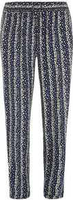 Navy Floral Printed Jogger - length: standard; style: peg leg; waist detail: belted waist/tie at waist/drawstring; waist: mid/regular rise; secondary colour: ivory; predominant colour: navy; occasions: casual, evening; fibres: viscose/rayon - 100%; fit: tapered; pattern type: fabric; pattern size: small &amp; busy; pattern: patterned/print; texture group: other - light to midweight
