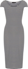 Ink And Ivory Midi Tube Dress - length: calf length; neckline: round neck; sleeve style: capped; fit: tight; pattern: horizontal stripes; style: bodycon; secondary colour: white; predominant colour: navy; occasions: casual, evening; fibres: viscose/rayon - stretch; sleeve length: sleeveless; texture group: jersey - clingy; pattern type: fabric; pattern size: standard