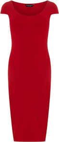 Red Cap Sleeve Midi Tube Dress - length: below the knee; neckline: round neck; sleeve style: capped; fit: tight; pattern: plain; style: bodycon; predominant colour: true red; occasions: casual, evening, occasion; fibres: polyester/polyamide - stretch; sleeve length: short sleeve; pattern type: fabric; texture group: jersey - stretchy/drapey