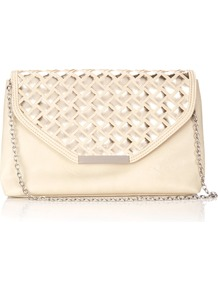 Ivory Metallic Clutch Bag - predominant colour: ivory; secondary colour: champagne; occasions: evening, occasion; type of pattern: standard; style: clutch; length: hand carry; size: standard; material: faux leather; pattern: plain; trends: metallics; finish: plain; embellishment: chain/metal