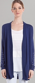Cardigan Gabrielle - pattern: plain; length: below the bottom; neckline: collarless open; style: open front; predominant colour: indigo; occasions: casual; fit: loose; sleeve length: long sleeve; sleeve style: standard; texture group: knits/crochet; trends: volume; pattern type: knitted - fine stitch; embellishment: studs; fibres: viscose/rayon - mix