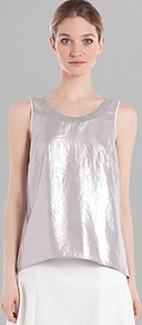 Tank Eloise Metallic - pattern: plain; sleeve style: sleeveless; back detail: cowl/draping/scoop at back; style: vest top; shoulder detail: contrast pattern/fabric at shoulder; predominant colour: champagne; occasions: casual, evening, occasion, holiday; length: standard; neckline: scoop; fibres: polyester/polyamide - 100%; fit: body skimming; sleeve length: sleeveless; texture group: silky - light; trends: metallics; pattern type: fabric